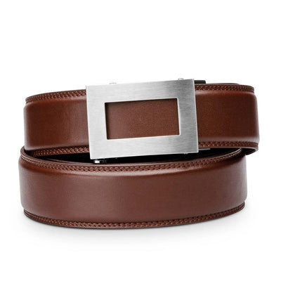 "Kore ""Icon"" Solid Stainless Steel Ratchet Buckle & Cognac Full-Grain Leather Track Belt.  No-Holes, ratchet belts fit perfect every time."