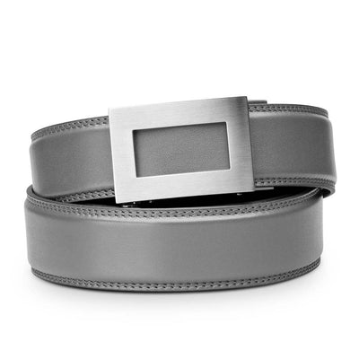 "Kore ""Icon"" Solid Stainless Steel Ratchet Buckle & Gray Full-Grain Leather Track Belt.  No-Holes, ratchet belts fit perfect every time."