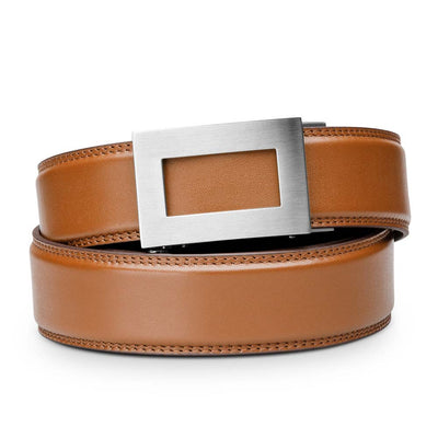 "Kore ""Icon"" Solid Stainless Steel Ratchet Buckle & Tan Full-Grain Leather Track Belt.  No-Holes, ratchet belts fit perfect every time."
