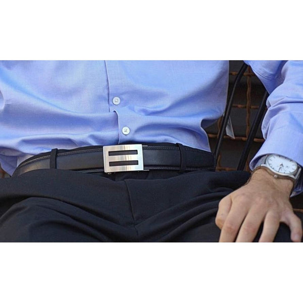 Kore Intrepid stainless steel buckle & black leather belt. Unique no-holes, ratchet style belt.