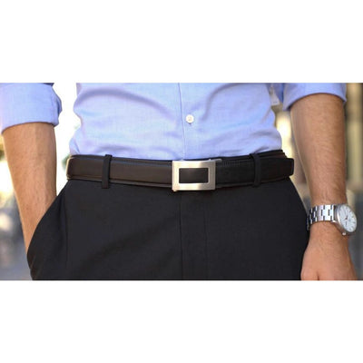 Kore Icon stainless steel buckle & black full-grain leather belt.  Unique no-hole, ratchet belt buckle.