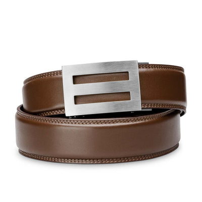 "Kore ""Intrepid"" Solid Stainless Steel Ratchet Buckle & Brown Full-Grain Leather Track Belt.  No-Holes, ratchet belts fit perfect every time."