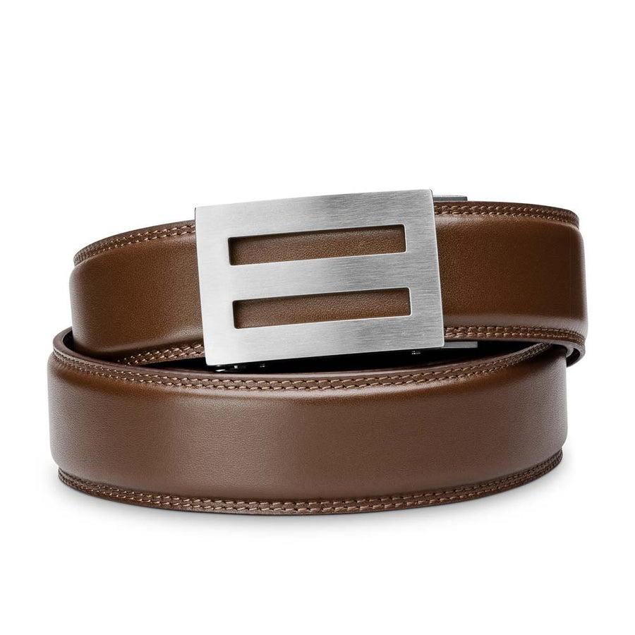 "Kore ""Intrepid"" Solid Stainless Steel Ratchet Buckle & Black Full-Grain Leather Track Belt.  No-Holes, ratchet belts fit perfect every time."