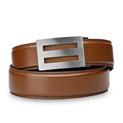 "Kore ""Intrepid"" Solid Stainless Steel Ratchet Buckle & Cognac Full-Grain Leather Track Belt.  No-Holes, ratchet belts fit perfect every time."