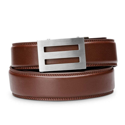 "Kore ""Intrepid"" Solid Stainless Steel Ratchet Buckle & Cordovan Full-Grain Leather Track Belt.  No-Holes, ratchet belts fit perfect every time."