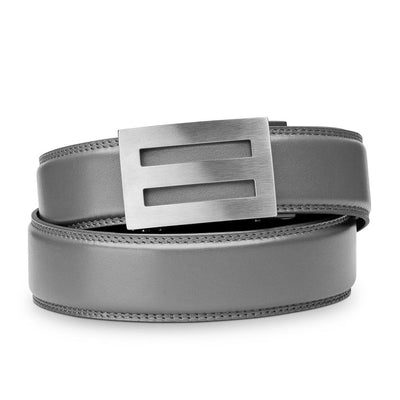 "Kore ""Intrepid"" Solid Stainless Steel Ratchet Buckle & Gray Full-Grain Leather Track Belt.  No-Holes, ratchet belts fit perfect every time."