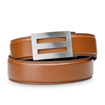 "Kore ""Intrepid"" Solid Stainless Steel Ratchet Buckle & Tan Full-Grain Leather Track Belt.  No-Holes, ratchet belts fit perfect every time."