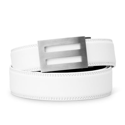 "Kore ""Intrepid"" Solid Stainless Steel Ratchet Buckle & White Full-Grain Leather Track Belt.  No-Holes, ratchet belts fit perfect every time."