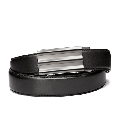 "Kore ""INVOKE"" Slim buckle with Black full grain leather track belt. Kore ratchet belts the best fitting, most comfortable ratchet belt you will ever wear by Kore Essentials."
