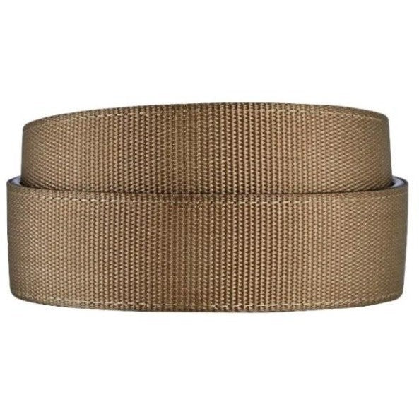 Kore Nylon Web Track Belts for Men.  Steel Gray & Tan Khaki, casual no-holes, track belt for guys. Men's vegan belts.