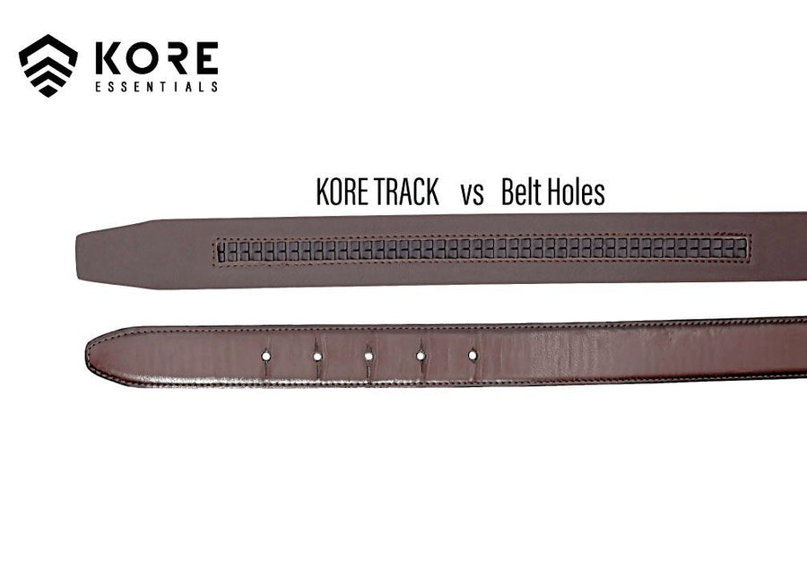 "Kore X6 Black Gun Buckle & Black Reinforced Top Grain Leather Gun Belt. This Track or ratchet style belt has a hidden track with over 40+ size positions in 1/4"" increments to give you a perfect fit."