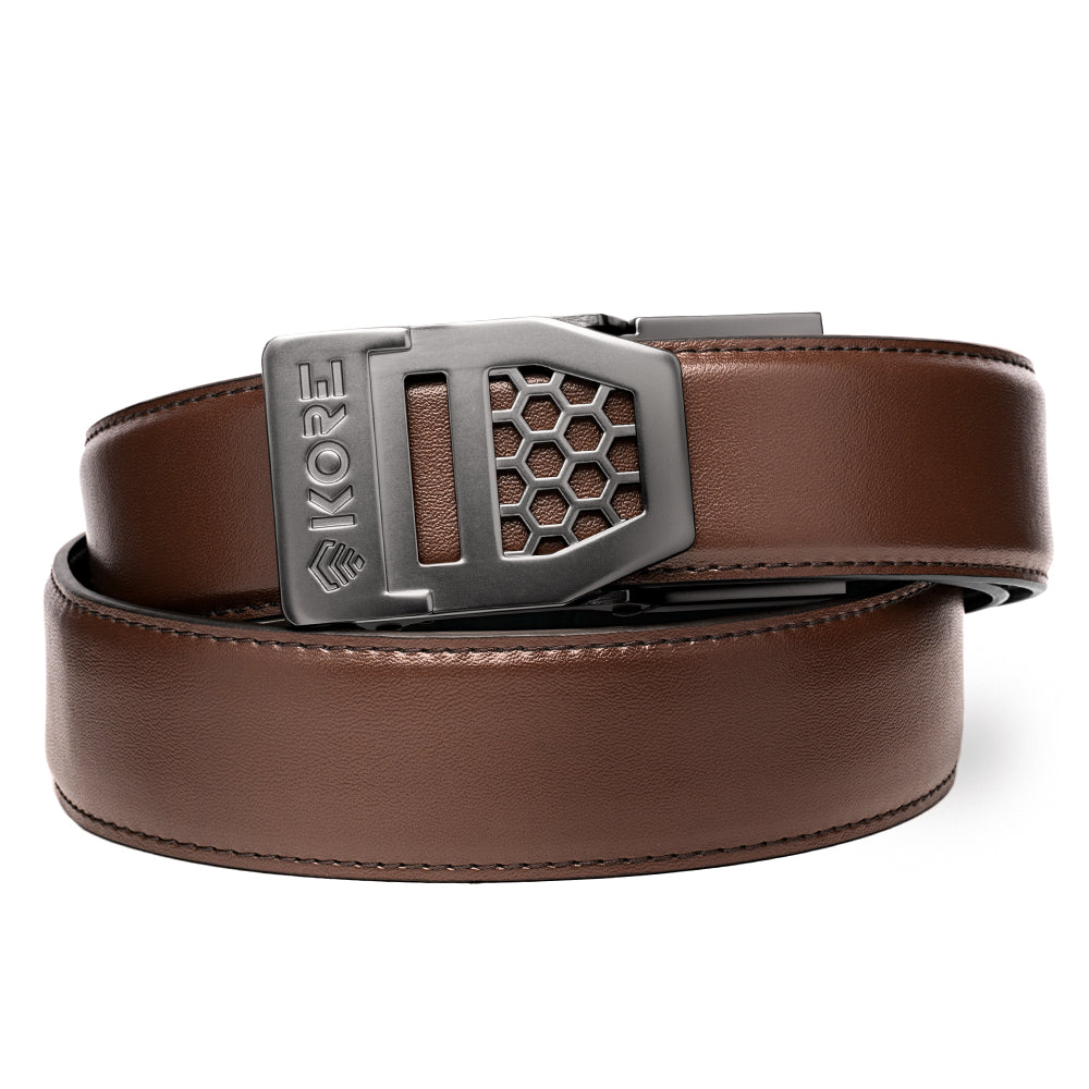 X6 Gunmetal Buckle Brown Leather Gun Belt Kore Essentials More information i've been wearing kore essentials tactical belts ever since they first reached out to me last july. x6 gunmetal buckle brown leather gun belt