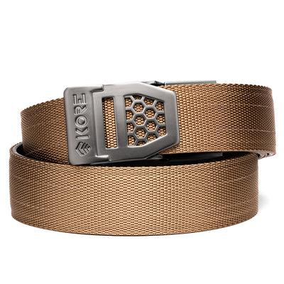 X6 Gunmetal Kore Gun Buckle & Reinforced Tan Tactical Belt. Kore EDC belts offer 40 size positions for a perfect fit and power core center for added stiffness and support.
