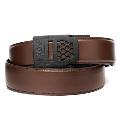 Kore X6 Gun Buckle with Brown Reinforced Top Grain Leather Belt.  Ratchet Gun Belts by Kore Essentials for EDC and range wear.