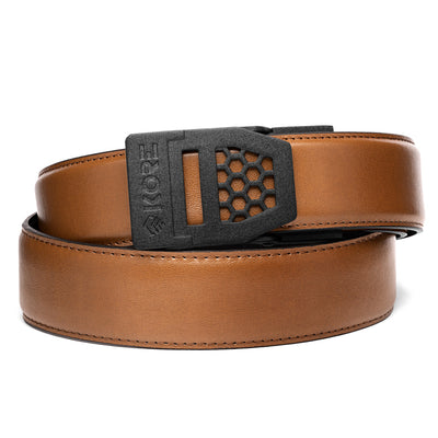 Kore X6 Gun Buckle with Black Reinforced Leather Belt. Mens ratchet belts for Every Day Carry (EDC) and Concealed Carry.