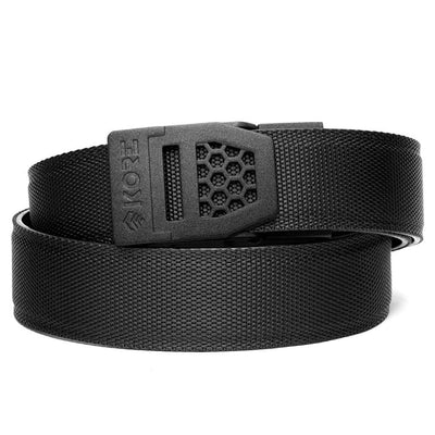 Kore X6 Gun Buckle with Black Reinforced Nylon Webb Belt. Mens ratchet belts for firearms and concealed carry.