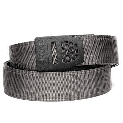 Kore X6 Gun Buckle with Gray Reinforced Tactical Belt. Mens ratchet belts for Every Day Carry (EDC) and Concealed Carry.