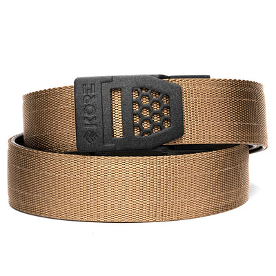 Kore X6 Gun Buckle with Tan Reinforced Tactical Belt. Mens ratchet belts for Every Day Carry (EDC) and Concealed Carry.