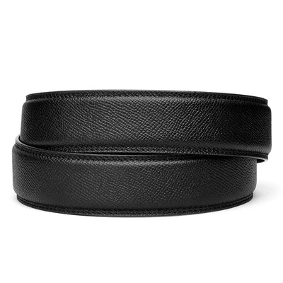 "Kore Pebble Style Full Grain Leather  belts [no buckle] feature a hidden track with over 40+ size  positions to choose from for a perfect fit. Track belts are compatible with all Kore fashion ratchet buckles. Black Pebble belts fit any waist from 24"" to 44""."