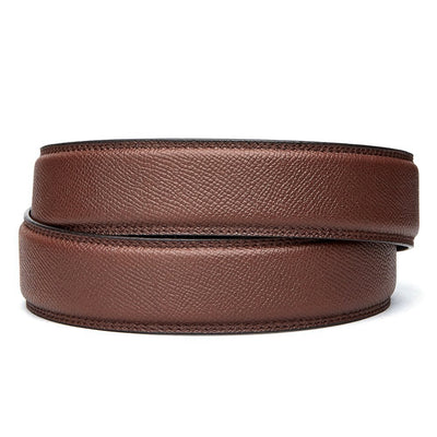"Kore Pebble Style Full Grain Leather  belts [no buckle] feature a hidden track with over 40+ size  positions to choose from for a perfect fit. Track belts are compatible with all Kore fashion ratchet buckles. Brown Pebble belts fit any waist from 24"" to 44""."