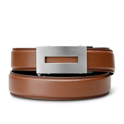 "Kore ""Inspire"" Slim Ratchet Buckle & Brown Full-Grain Leather Track Belt.  No-Holes, ratchet belts fit perfect every time."