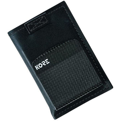 Slim Wallet with removable carbon fiber money clip by Kore Essentials.  RFID Blocking protection and smart pull tabs for fast access.
