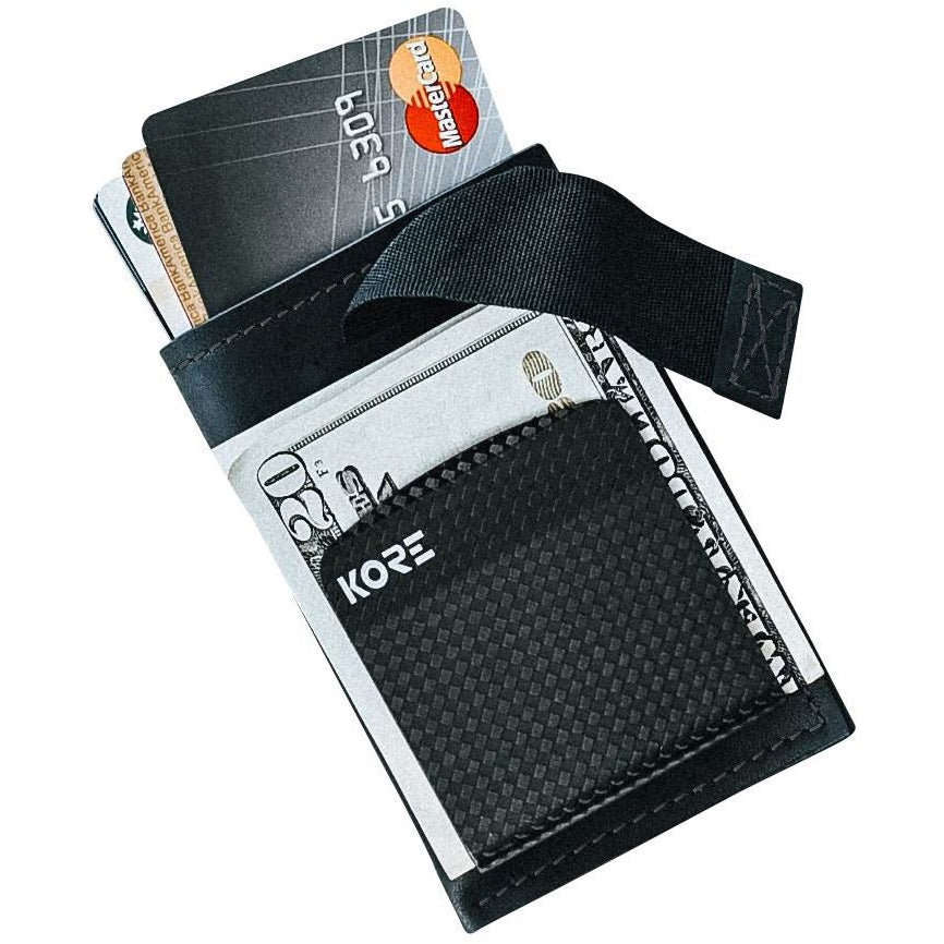 Kore Slim Wallet with removable carbon fiber money clip.  RFID Blocking protection and full-grain leather.