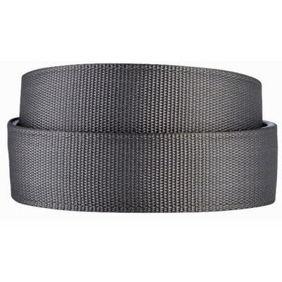 Kore Steel Gray Nylon Web Belts for Men. Casual no-holes, track belt for guys..
