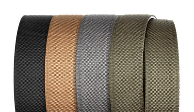 Kore tactical gun belts for concealed carry (ccw) and edc. Reinforced nylon web track belts to support a holstered firearm or gear. No SAG or SLAG. Available in Black, Tan, Green and Gray.