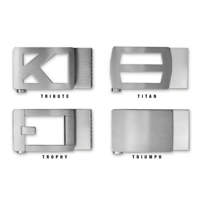 Kore Titanium Ratchet Buckles are Grade 1 Titanium and compatible with all of our pebble-pattern leather, classic leather, smooth leather and nylon fashion belts.