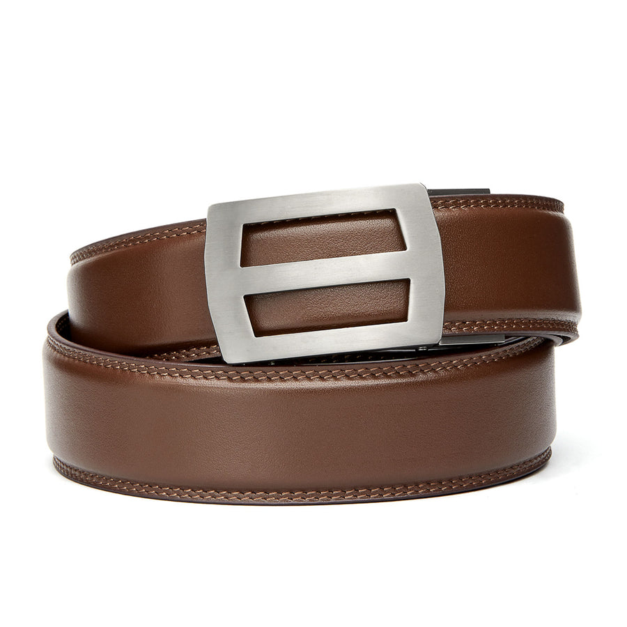 "Kore Titanium Track Belt.  ""Titan"" style grade 1 titanium ratchet buckle and Black full-grain leather track belt. No-holes belts for men by Kore Essentials"