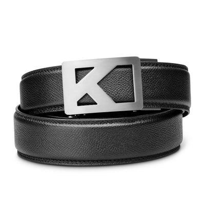 "Kore Titanium Track Belt.  ""Tribute"" style grade 1 titanium ratchet buckle and pebble pattern full-grain leather track belt. No-holes belts for men by Kore Essentials."