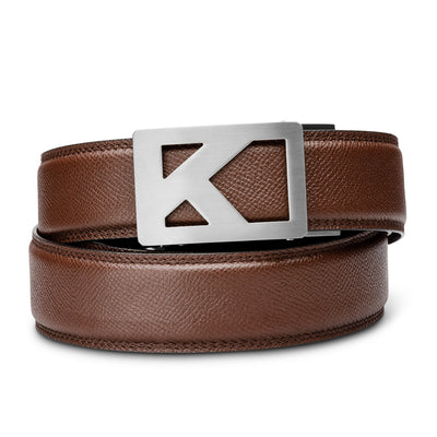 "Kore Titanium Track Belt.  ""Tribute"" style grade 1 titanium ratchet buckle and pebble pattern full-grain leather track belt. No-hole belts for men by Kore Essentials."