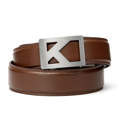"Kore Titanium Track Belt.  ""Tribute"" style grade 1 titanium ratchet buckle and Brown Classic full-grain leather track belt. No-holes belts for men by Kore Essentials."