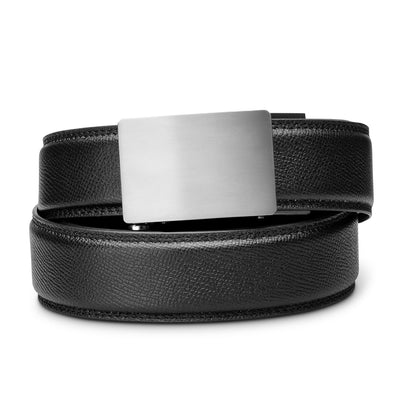 "Kore Titanium Track Belt.  ""Triumph"" style grade 1 titanium ratchet buckle and pebble pattern full-grain leather track belt. No-holes belts for men by Kore Essentials."