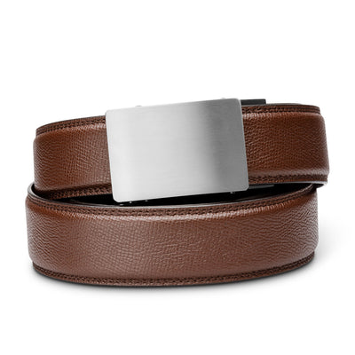 "Kore Titanium Track Belt.  ""Triumph"" style grade 1 titanium ratchet buckle and pebble pattern full-grain leather track belt. No-holes belts for men by Kore Essentials"