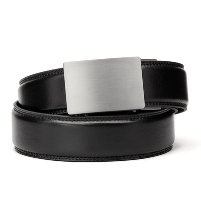 "Kore Titanium Track Belt.  ""Triumph"" style grade 1 titanium ratchet buckle and Black classic full-grain leather track belt. No-holes belts for men by Kore Essentials"