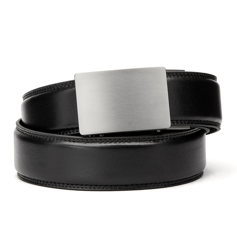 "Kore Titanium Track Belt.  ""Triumph"" style grade 1 titanium ratchet buckle and Brown Classic full-grain leather track belt. No-holes belts for men by Kore Essentials"