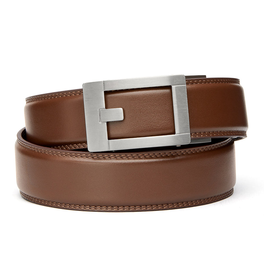 "Kore Titanium Track Belt.  ""Trophy"" style grade 1 titanium ratchet buckle and Black Classic full-grain leather track belt. No-holes belts for men by Kore Essentials"