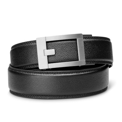"Kore Titanium Track Belt.  ""Trophy"" style grade 1 titanium ratchet buckle and pebble pattern full-grain leather track belt. No-holes belts for men by Kore Essentials"