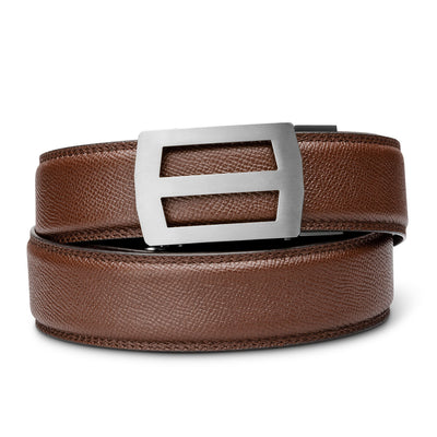 "Kore Titanium Track Belt.  ""Titan"" style grade 1 titanium ratchet buckle with pebble pattern full-grain leather track belt. No-holes belts for men by Kore Essentials."