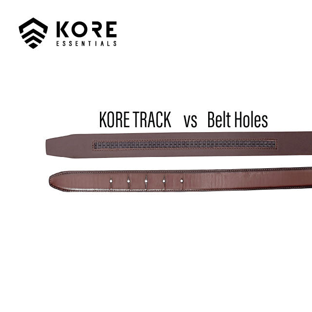 "Kore smooth top-grain leather belts have no visible stitching. No-hole, track belts are One-Size & fit from 24' to 44""."