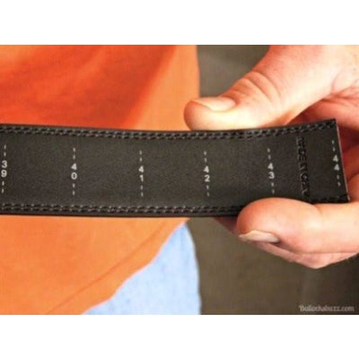 Kore leather belt with printed size trimming marks. (backside view)