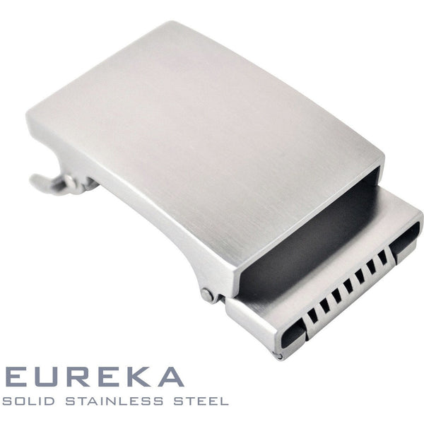Eureka solid stainless steel ratchet style buckle. Patented Trakline buckle mechanism by Kore Essentials
