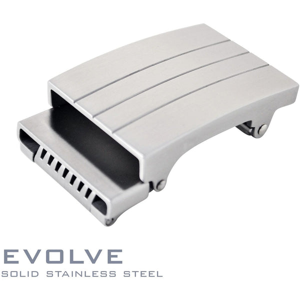 Evolve solid stainless steel ratchet style buckle. Patented Trakline buckle mechanism by Kore Essentials