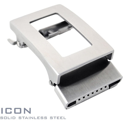 Icon solid stainless steel ratchet style buckle. Patented Trakline buckle mechanism by Kore Essentials