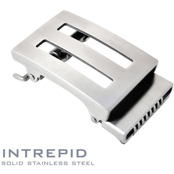 Intrepid solid stainless steel ratchet style buckle. Patented Trakline buckle mechanism by Kore Essentials