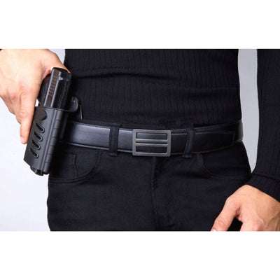 X1 Buckle & Reinforced Black Top-Grain Leather Gun Belt by Kore Essentials.  The best-fitting CCW belt you will ever wear.
