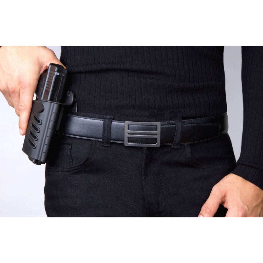 Kore X1 Gun Buckle with Black reinforced leather gun belt.  Ratchet buckle with no holes track belt for concealed carry edc.