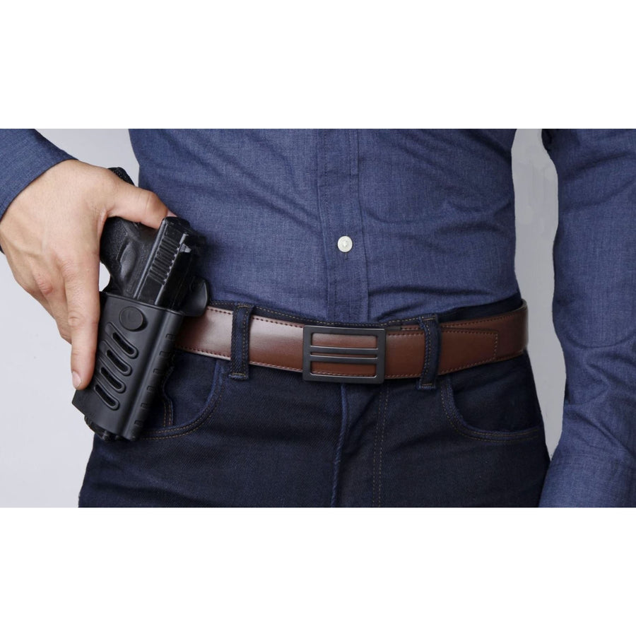 Kore X1 Gun Buckle with Brown reinforced top-grain leather belt.  Ratchet buckle with no holes track belt for concealed carry edc.